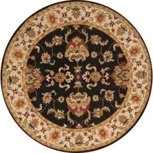 Check Prices Bovill Agra Oriental Hand-Tufted Wool Black Area Rug ByCanora Grey