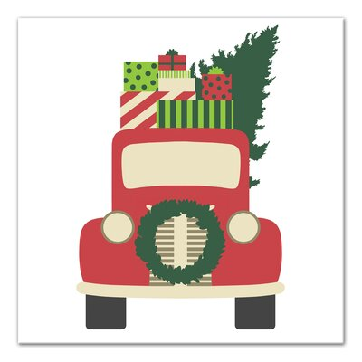 Vintage Christmas Truck Graphic Art Print On Canvas