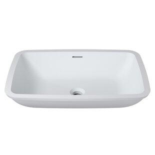 InFurniture Stone Rectangular Undermount Bathroom Sink with Overflow