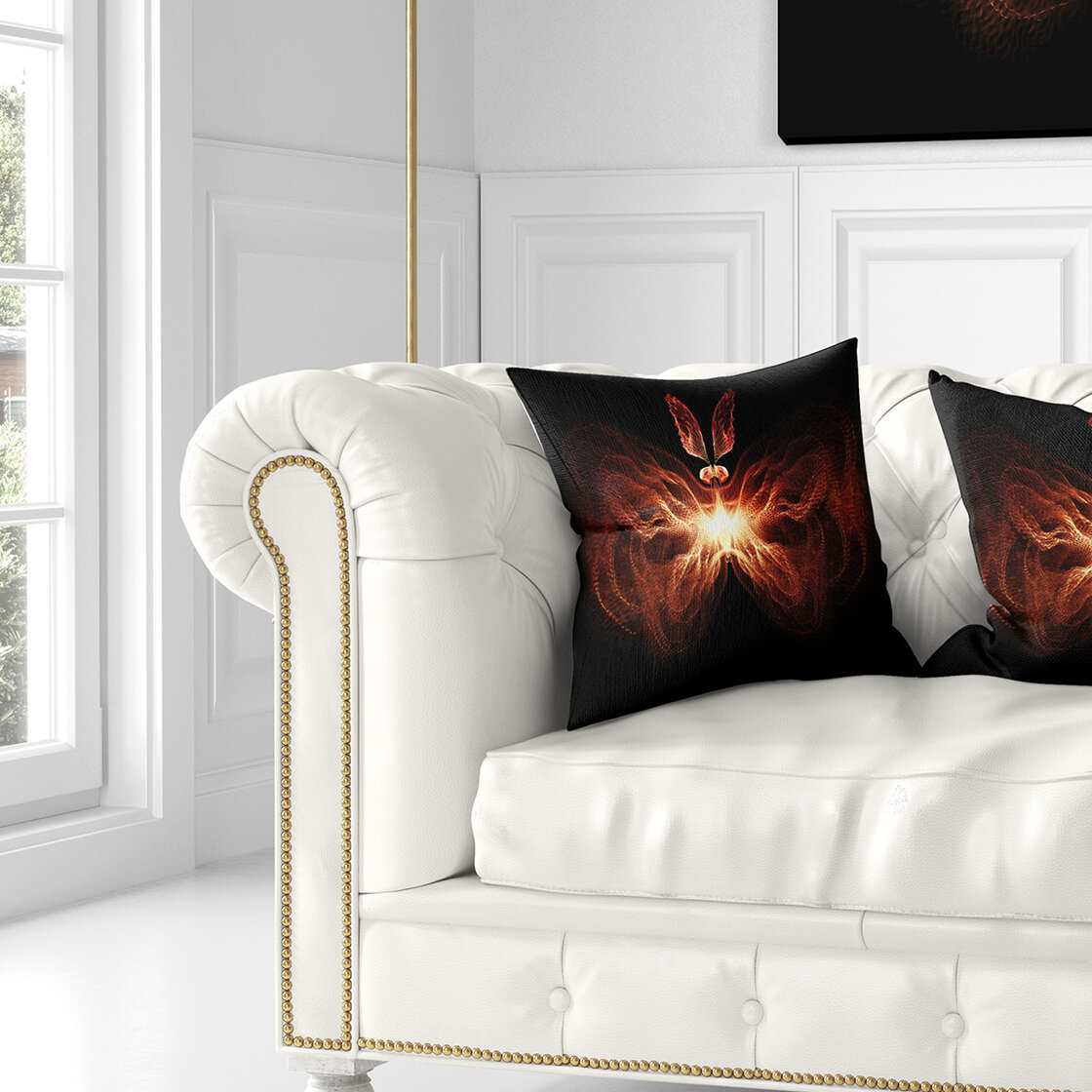 East Urban Home Abstract Fire In Middle Fractal Butterfly Throw Pillow Wayfair
