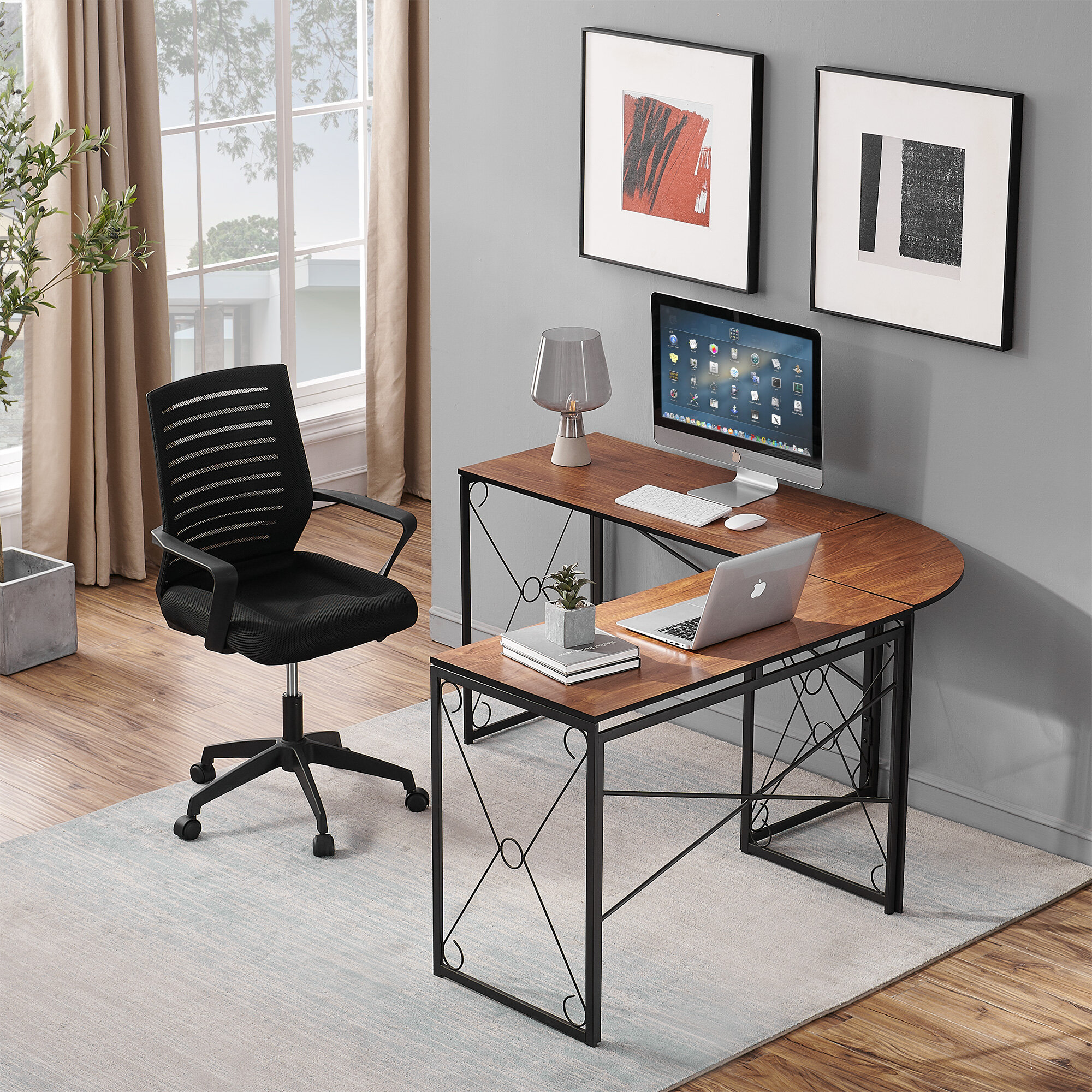 Inbox Zero Reversible L Shape Writing Gaming Desk And Chair Set Wayfair