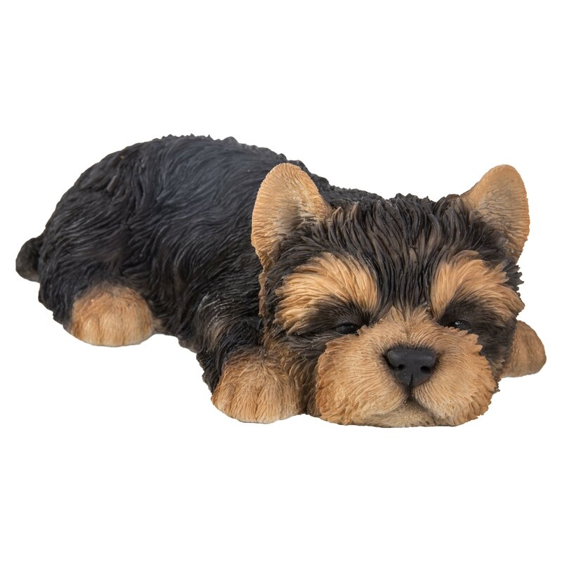 Lying Down Sleeping Yorkshire Terrier Puppy Dog Life Like Figurine Statue Decor