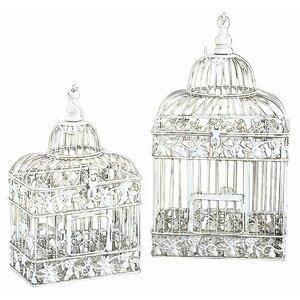 2 Piece Decorative White Metal Bird Cage Set