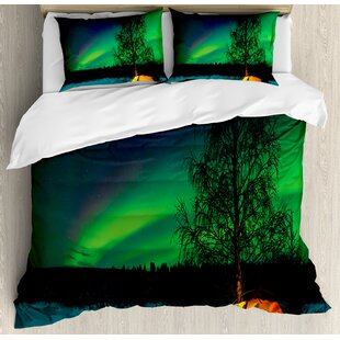 East Urban Home Northern Lights Camping Tent Under Magnetic Field Nature Picture Duvet Set