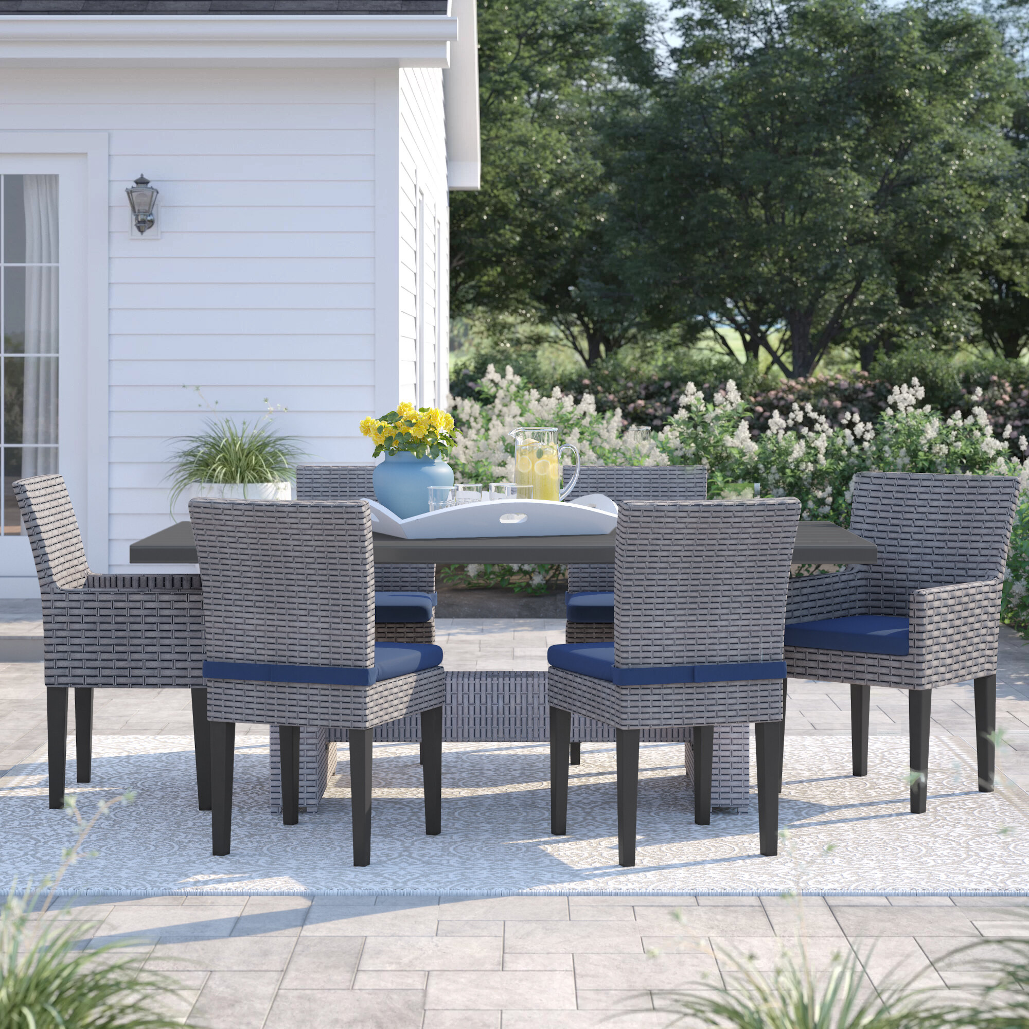 Sol 72 Outdoor Kenwick 7 Piece Outdoor Patio Dining Set With Cushions Reviews Wayfair