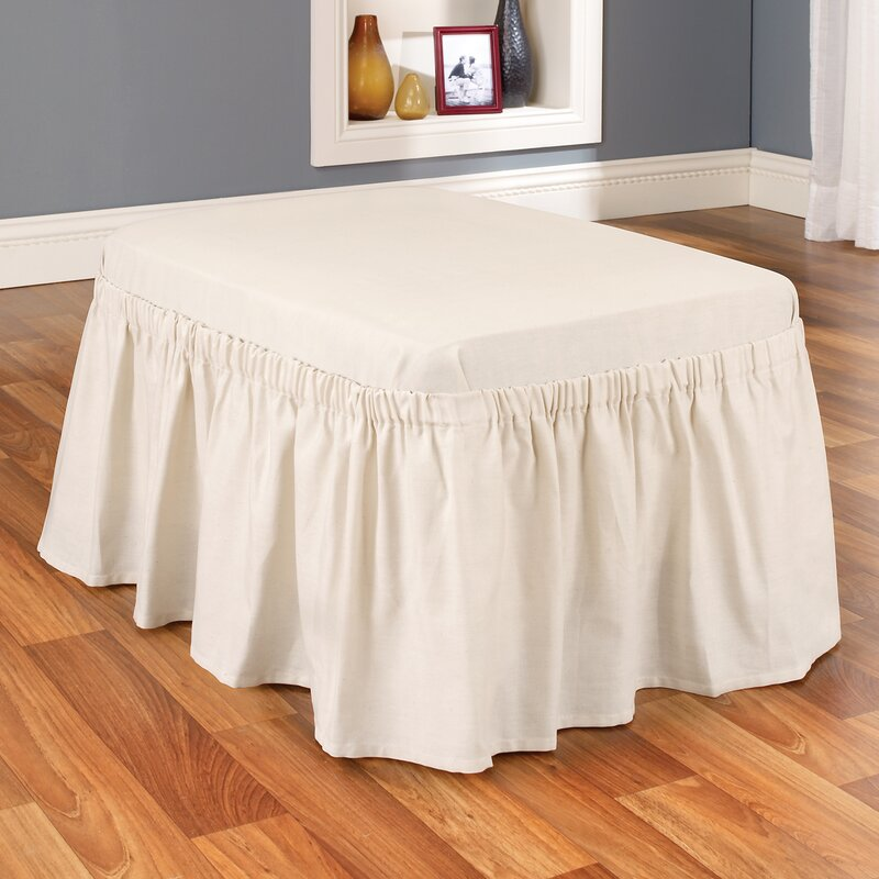 Cotton Duck Box Cushion Ottoman Slipcover