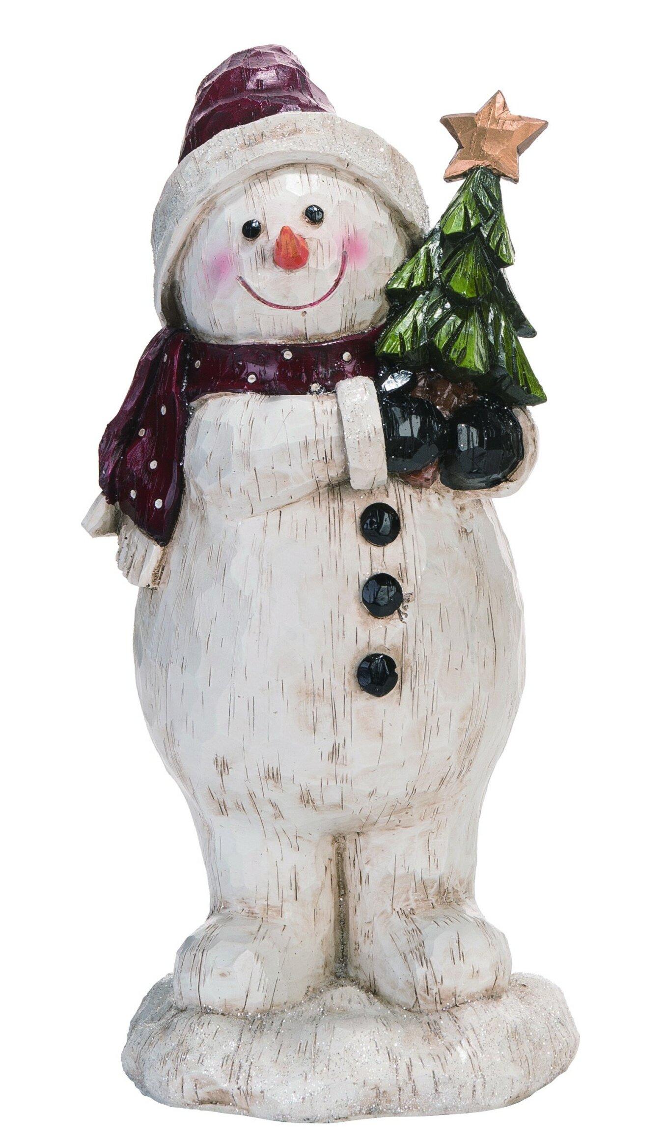The Holiday Aisle Resin Look Snowman Figurine Wayfair