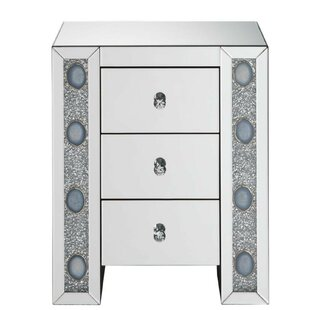 Budget Jovita Wood and Mirror 3 Drawer Nightstand by Everly Quinn
