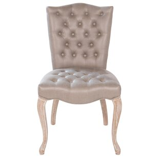 Victoria Tufted Leather Upholstered Side Chair in Beige