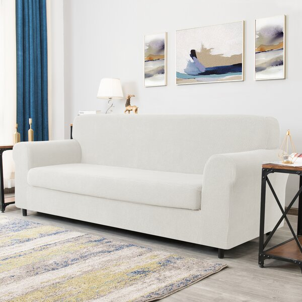 Winston Porter Dlerfeut 2 Piece Textured Grid Stretchy Removable Box Cushion Sofa Slipcover Reviews Wayfair