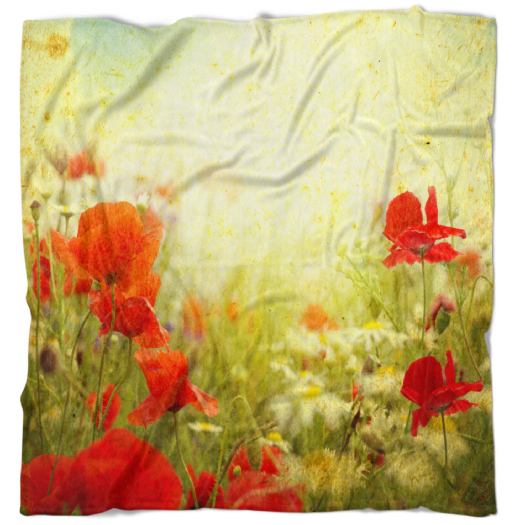 East Urban Home Floral Grunge Background With Poppies Blanket Wayfair