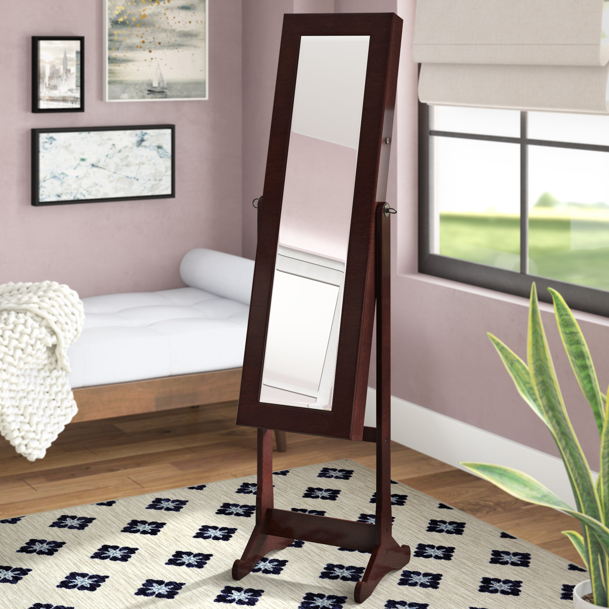 Ivy Bronx Bohr Floor Standing Jewelry Armoire With Mirror And Led