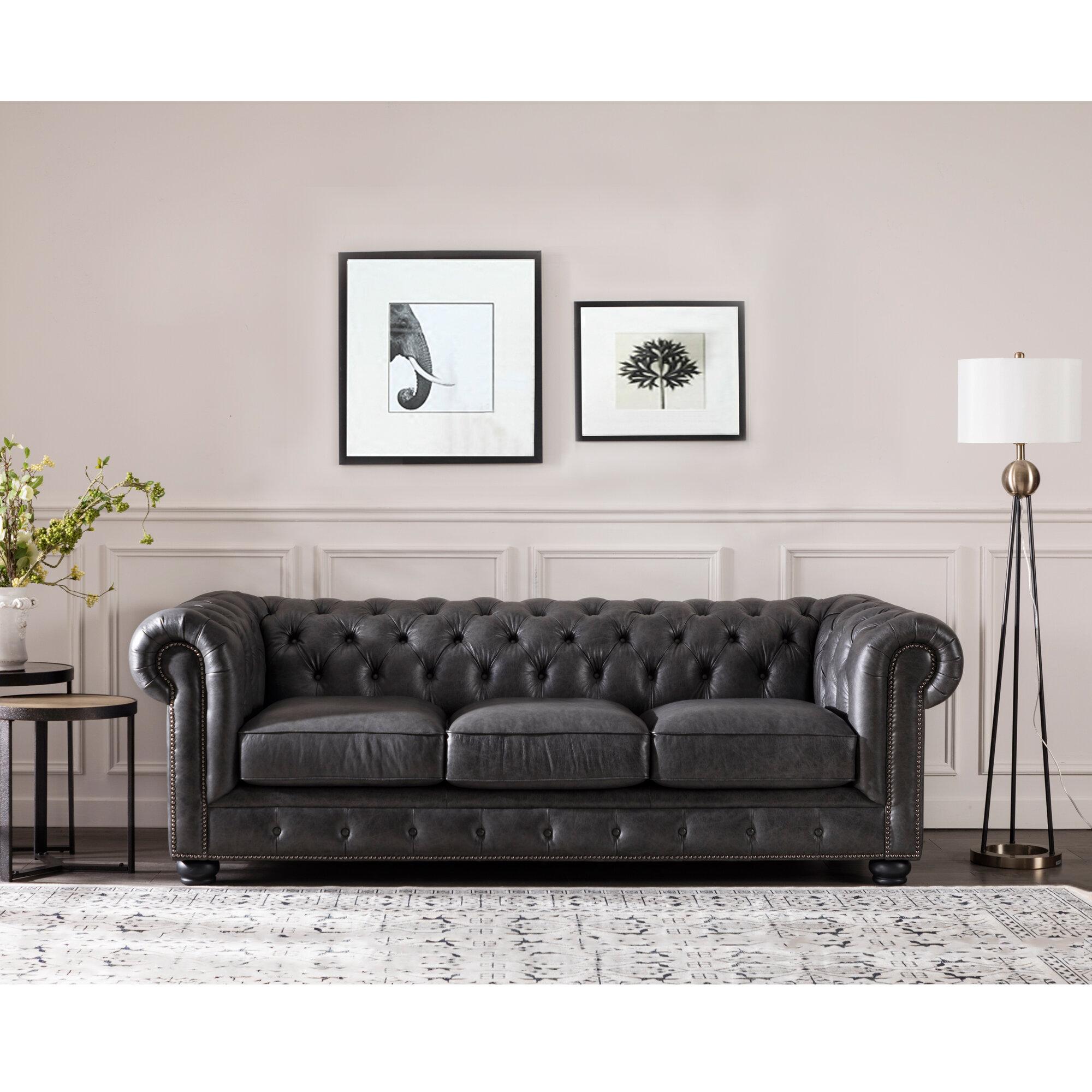 Three Posts Brinson Leather Chesterfield Sofa