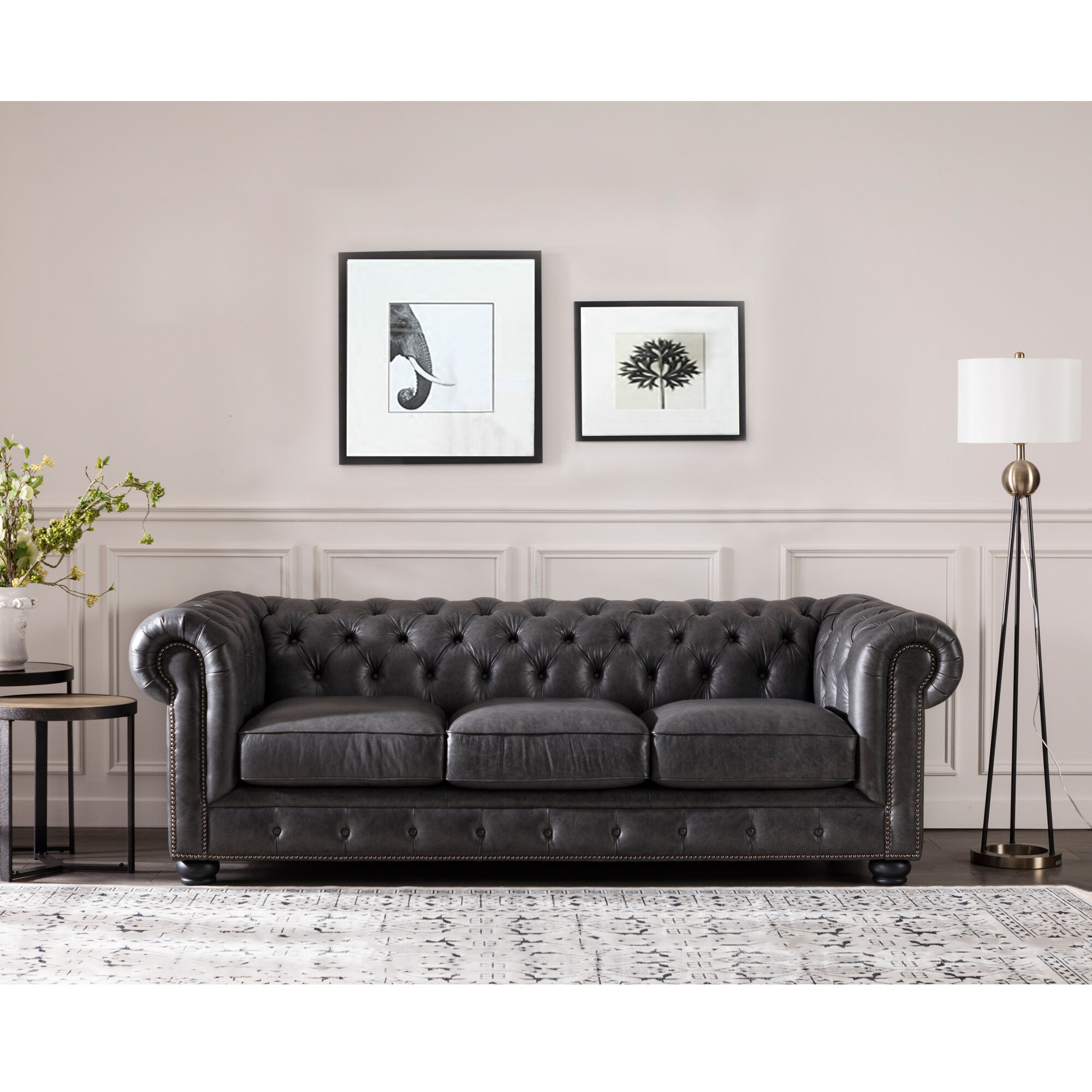Brinson Leather Chesterfield Sofa Reviews Birch Lane