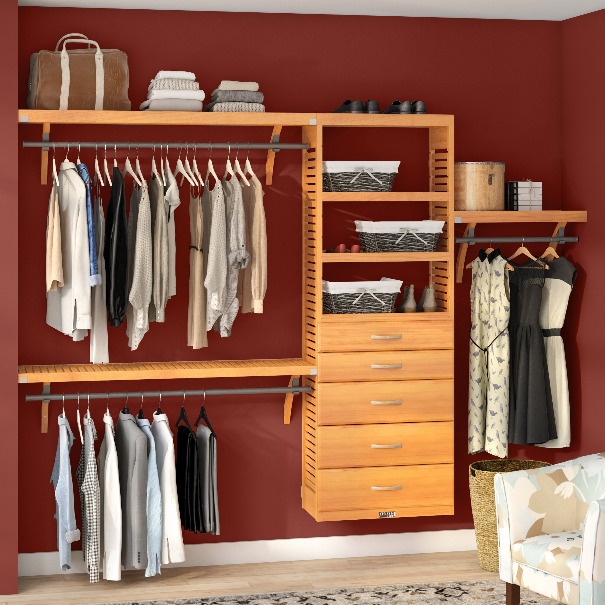 John Louis Home 16 W Deep Solid Wood 5 Drawers Deluxe Organizer