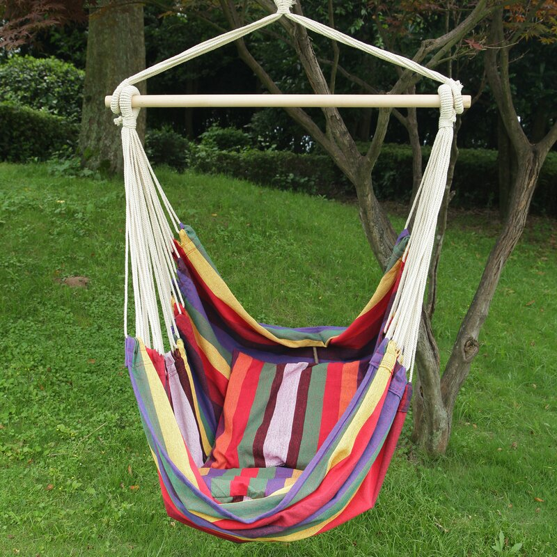 Medium image of tree hanging suspended indoor outdoor cotton chair hammock