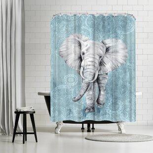 East Urban Home PI Creative Art Blue Paisley Elephant Shower Curtain