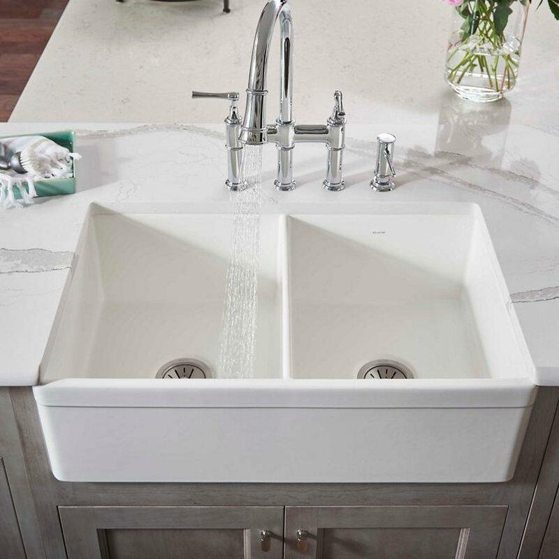 33 L X 20 W Double Basin Farmhouse Kitchen Sink