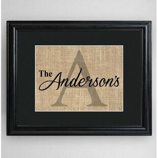 Personalized Family Name U0026 Initial Framed Textual Art