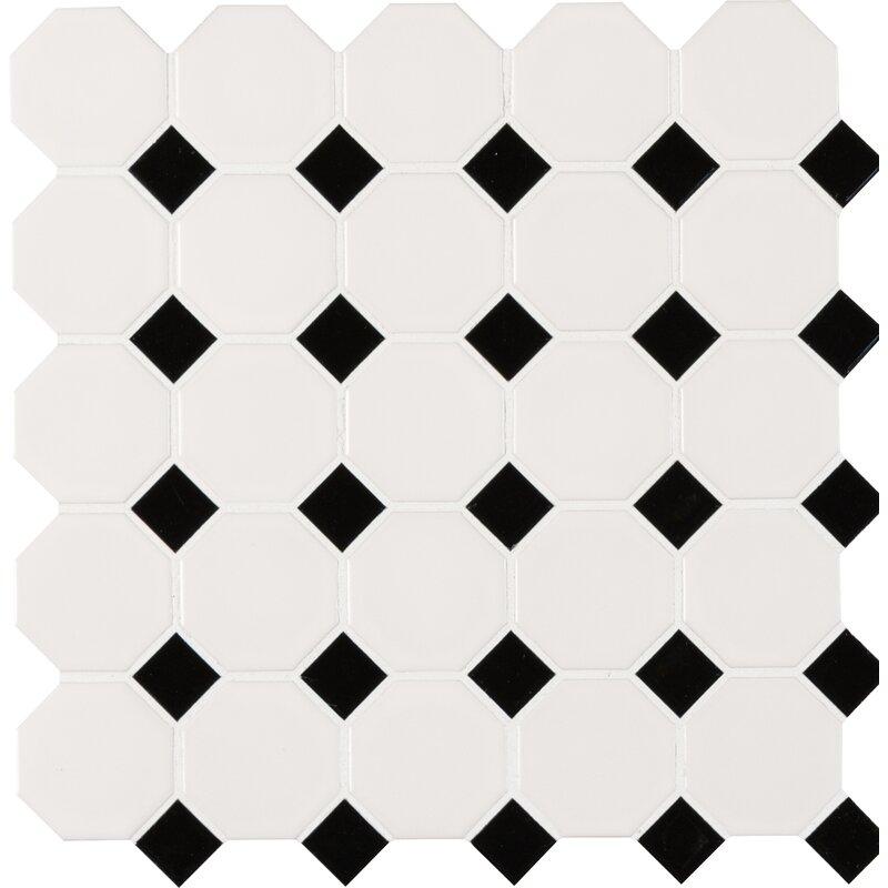 Porcelain Mosaic Tile In White Black