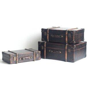 Williston Forge Delong 3 Piece Antique Leather Suitcase Set