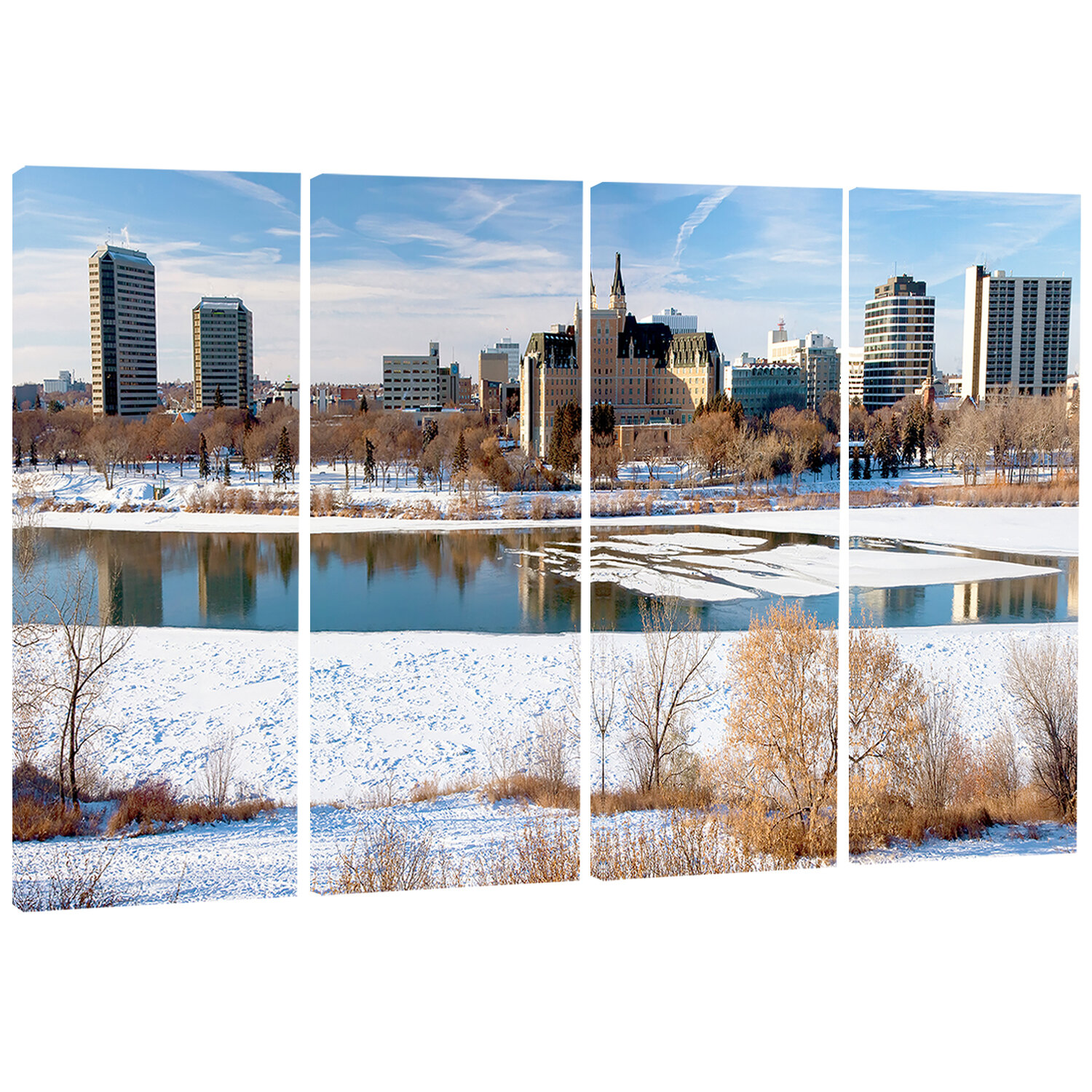 Designart City Of Saskatoon Winter Panoramic Landscape 4 Piece Photographic Print On Wrapped Canvas Set Wayfair