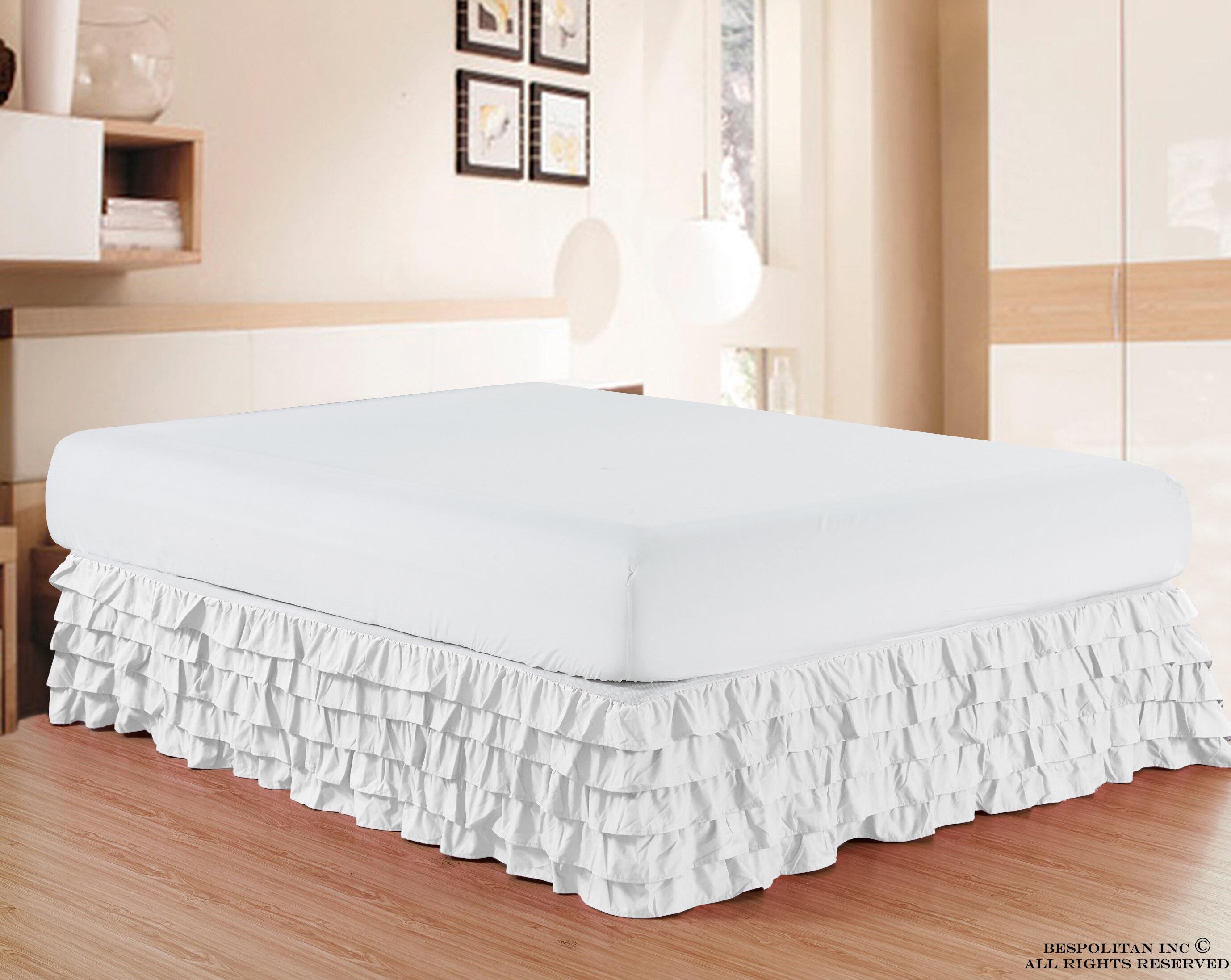 Beautiful White Bed Skirt Rust Ruffle Texture Layered Bedskirt King Or Queen Sz