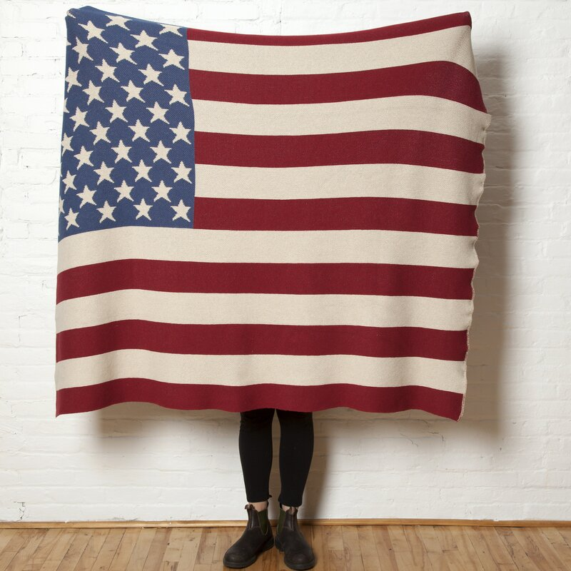 "WHITE /& BLUE FLEECE SCARF -SOFT-HANDMADE FLAG PATTERN 8/""X60/"" RED U.S.A"