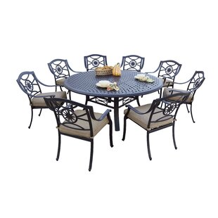Alcott Hill Thompsontown 9 Piece Dining Set with Cushions