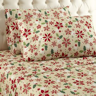 Buckley Poinsettia Flower Sheet Set by Alcott Hill Today Only Sale