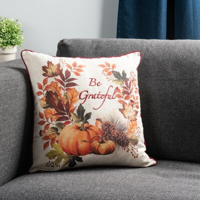 Sure Fit Be Grateful 18 Throw Pillow