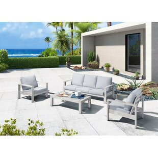 Sinclair Outdoor 4 Piece Sofa Seating Group by Rosecliff Heights #2