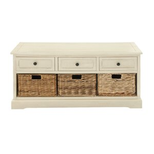 3 Drawer Wood Basket Accent Chest