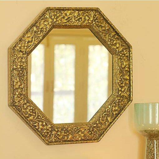 Novica Brass Repoussé Indian Artist Handmade Wall Mirror | Wayfair