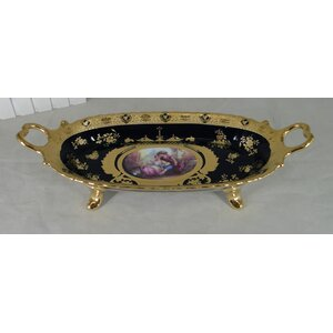 Belmore Limoges Style Footed Serving Tray or Platter with Handle