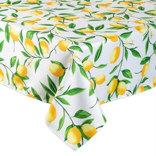 Lemons by wxstudio Citrus Round Tablecloth Summer Cotton Sateen Circle Tablecloth by Spoonflower