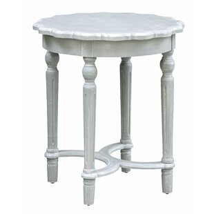 Hartshorn Turned Leg Chalk Scalloped End Table