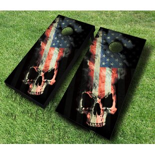 AJJ Cornhole American Skull Cornhole Set with Bags