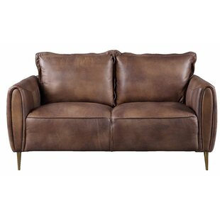 Boozer Leather Loveseat by Williston Forge
