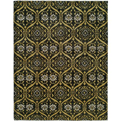 Hessie Hand Knotted Wool Black/Gold Area Rug Fleur De Lis Living Rug Size: Rectangle 2' x 3'