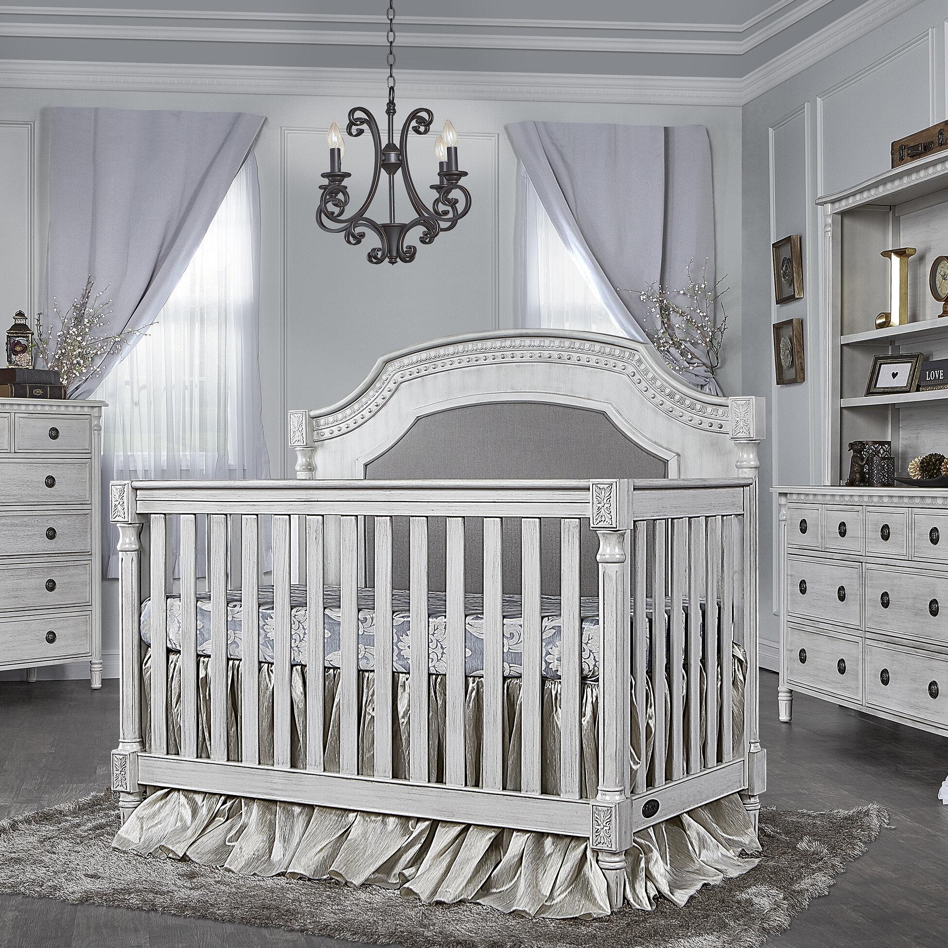 Antique Grey Mist Evolur 847-AM Julienne Toddler Rail Convertible Crib