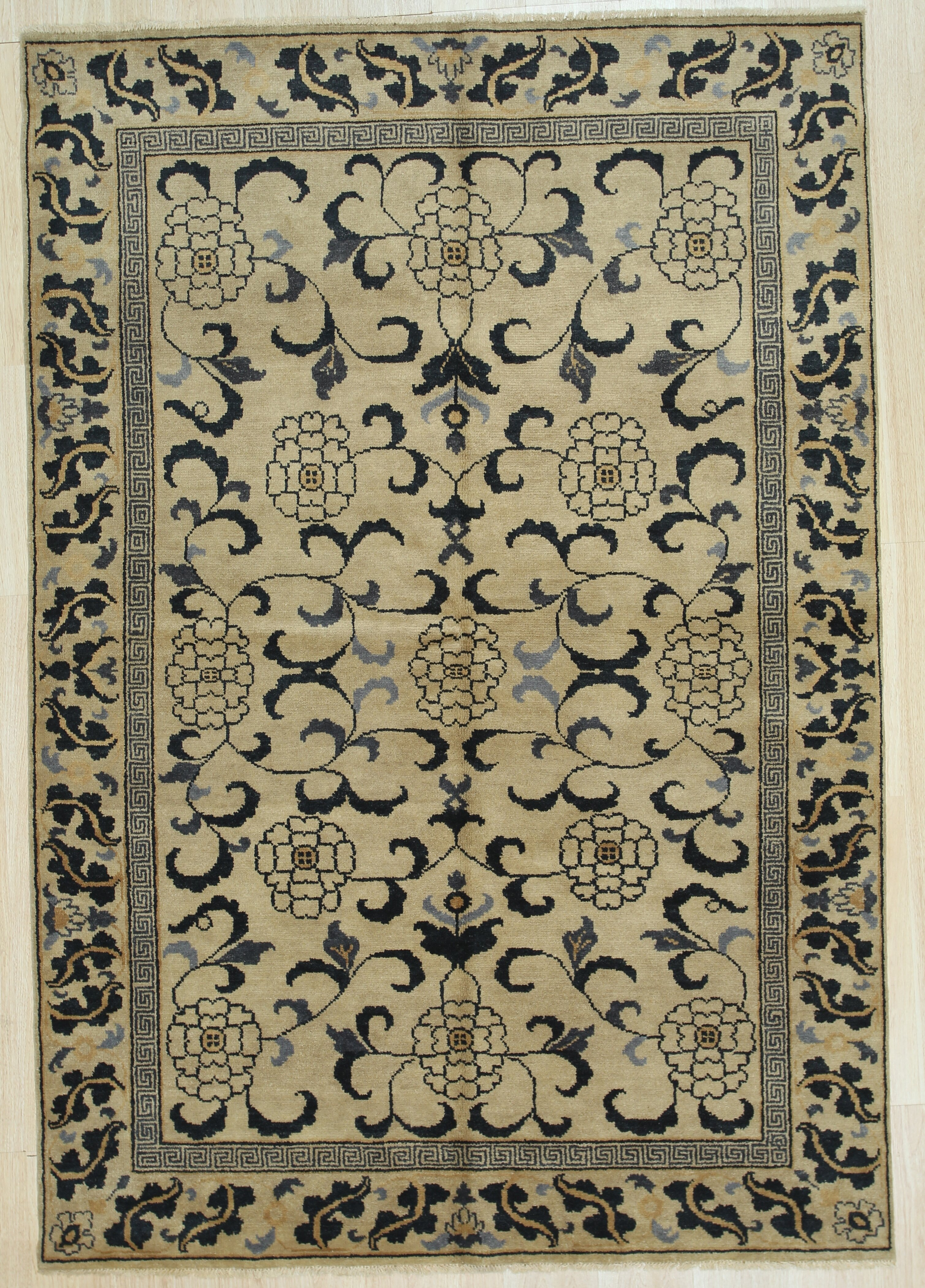 Canora Grey Emmylou Oriental Hand Knotted 6 X 9 Wool Gold Area Rug Wayfair