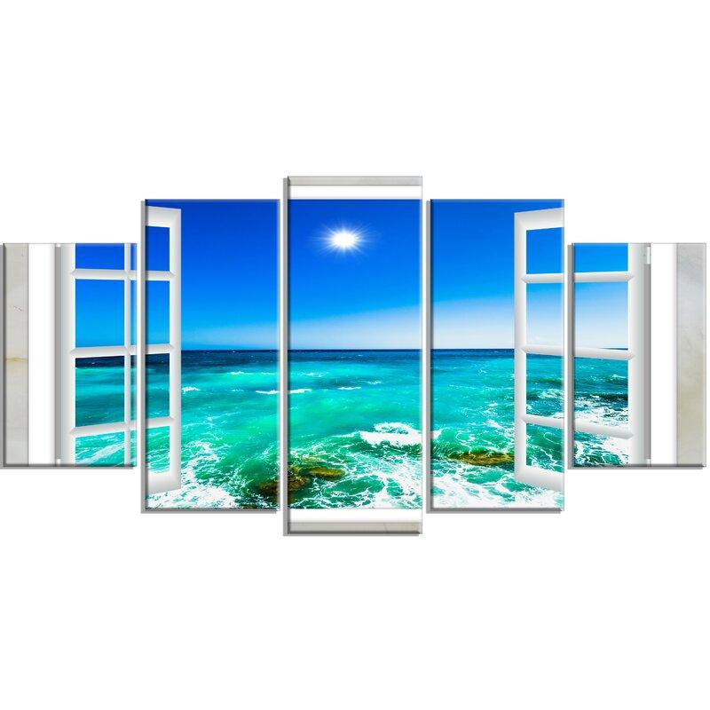 DesignArt \'Open Window to Wavy Ocean\' 5 Piece Wall Art on Wrapped ...