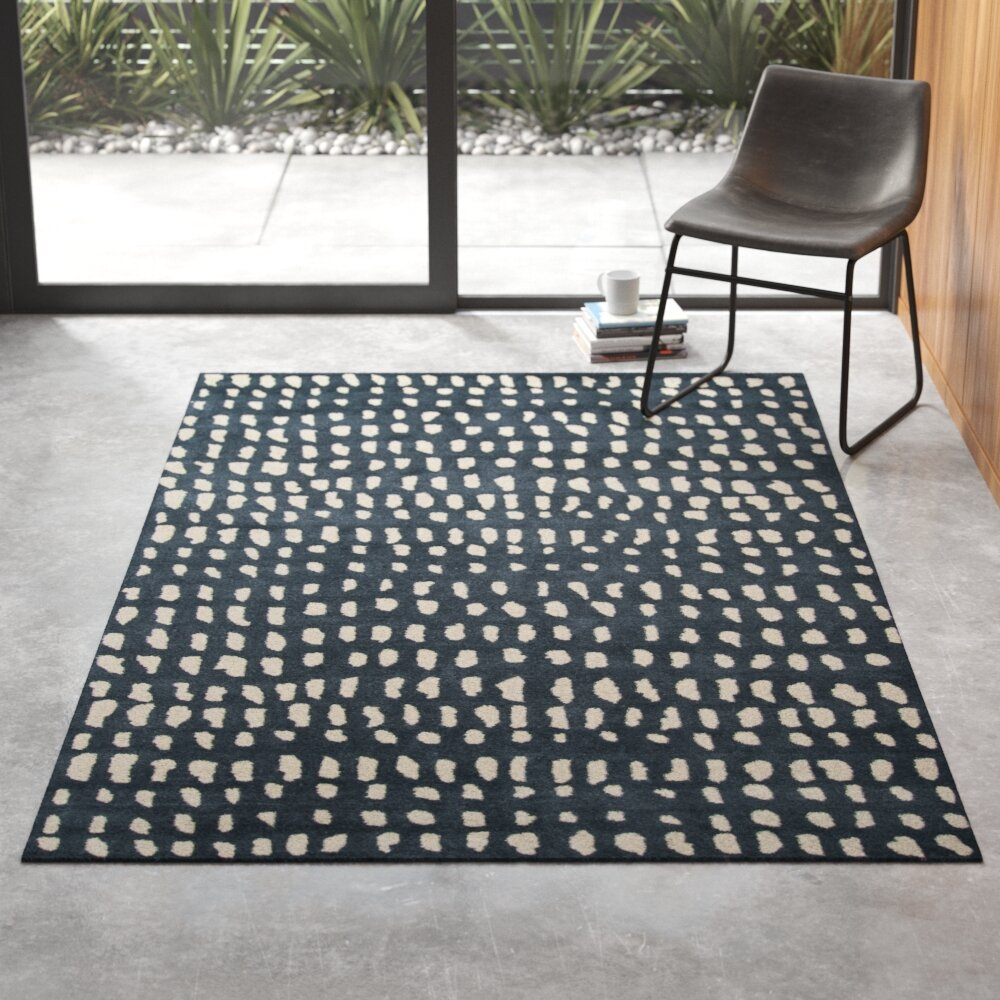 Delmar Abstract Handmade Tufted Wool Blue Ivory Area Rug Reviews Allmodern
