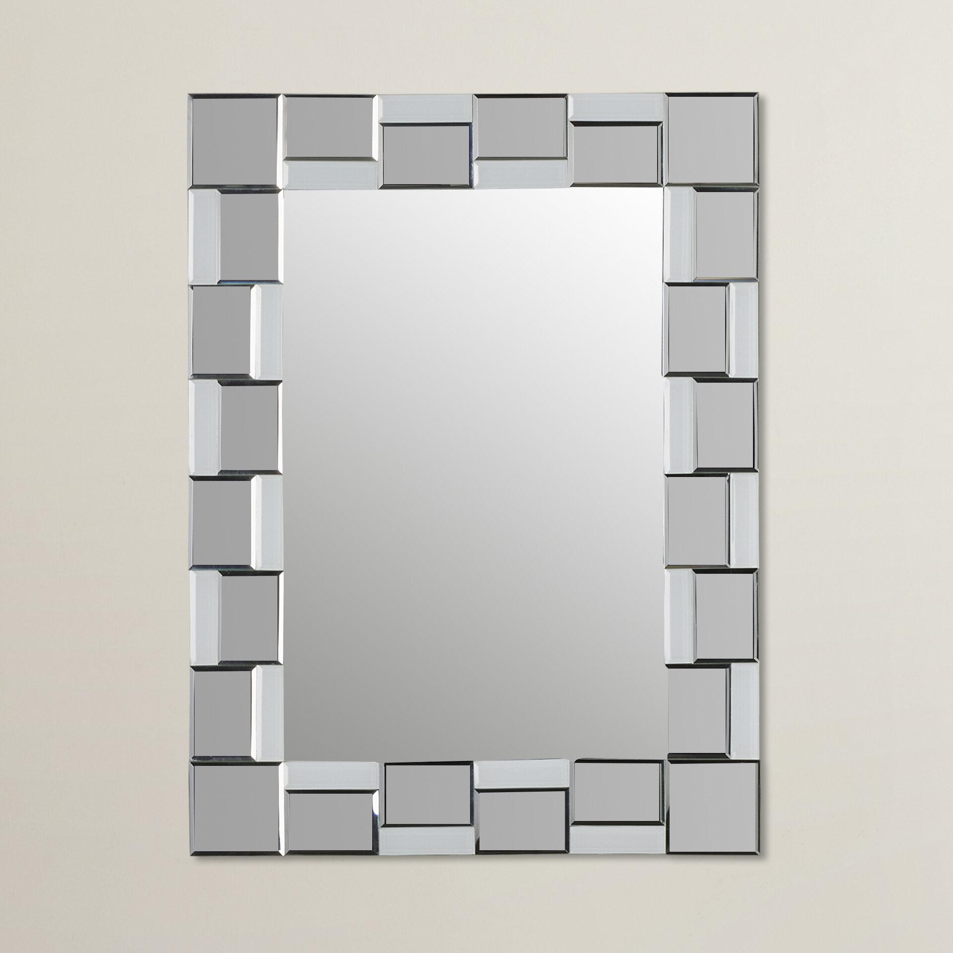 Wrought studio logan modern wall mirror reviews wayfair for Modern image studios reviews