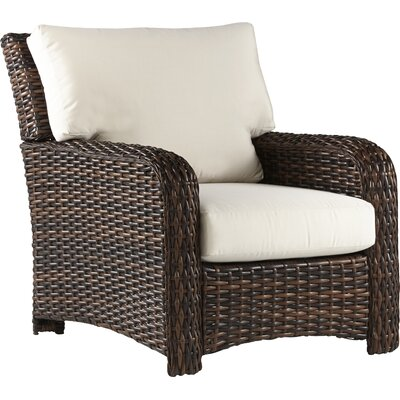 Chorio Patio Chair with Cushions Bay Isle Home Cushion Color: Canvas, Frame Color: Stone
