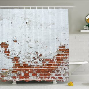 Rustic Home Dated Damaged Peeling Wall Covered with Paint Vintage Inspired City Scene Shower Curtain Set