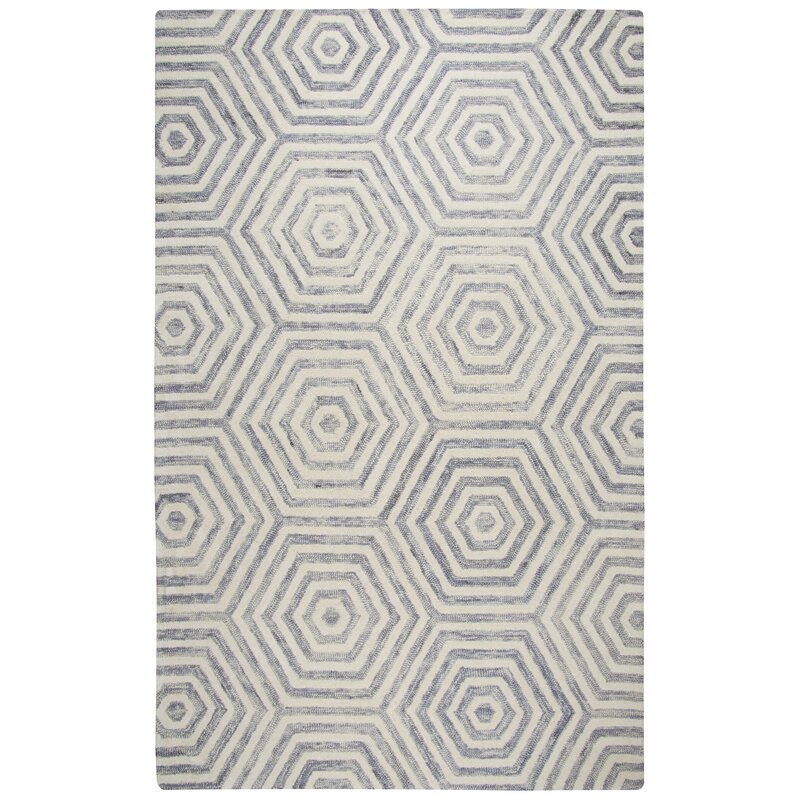 Mercury Row Clair Hand-Tufted Wool Light Gray/Ivory Area Rug
