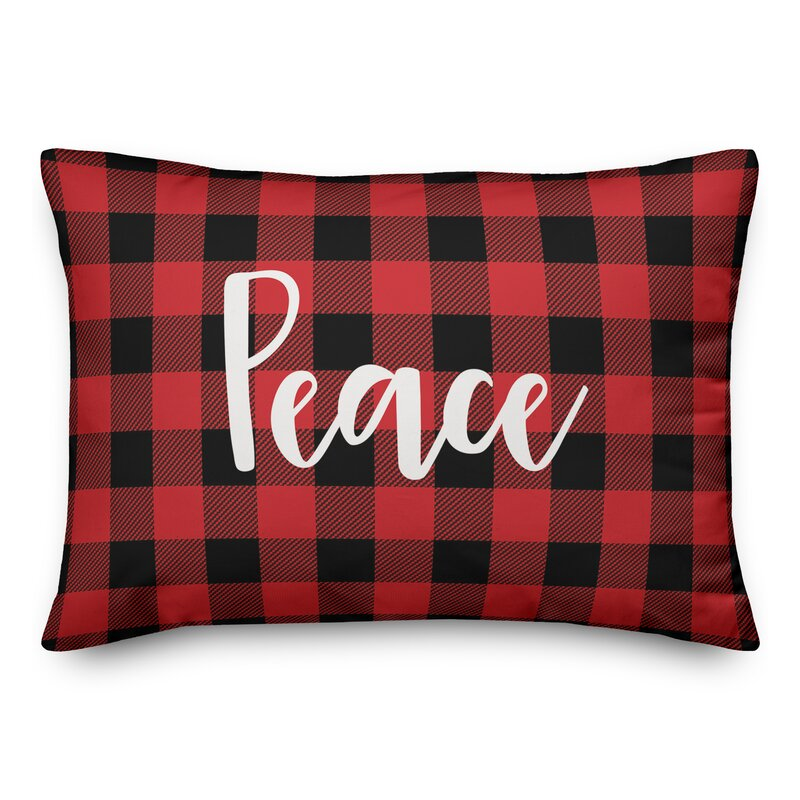Maryjo Peace in Buffalo Check Plaid Lumbar Pillow