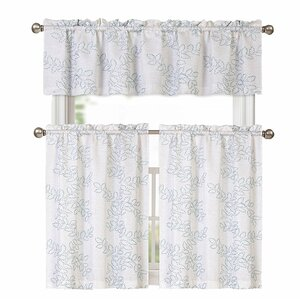 Esmond Embroidered Floral Kitchen Curtain Set